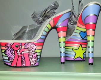 ALLOVER STRIPES My Little Pony mlp UV neon Rainbow Dash Pleaser Adore 7 inch exotic pole dance costume stripper burlesque platform heels