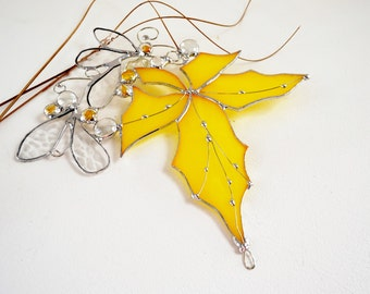 Stained Glass. Stained Glass Suncatcher. Rich Yellow Maple Leaf.