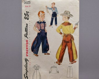 Vintage 1949 Little Boy's Cowboy Outfit Simplicity Pattern for Size 6 made in the USA