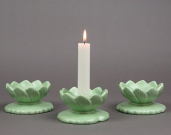 Vintage Set of Three Haeger Water Lily, Lily Pad Candleholders in Old Cottage Green  75th Anniversary of the Company, made in the USA