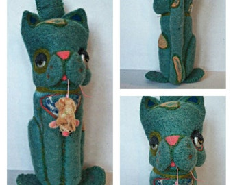 Needle Felted Blue Cat and Mouse
