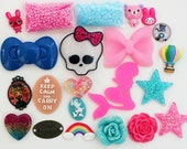 DIY 20 PCS MIX Flatback Kawaii Resin Bow Cabochon Skull Mermaid Bunny Flower Stars Balloon Hearts Deco Kit F64
