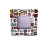Broken China Mosaic Photo Frame / Handmade Decorative Table Top Mosaic Picture Frame