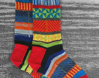 Socks, Hand Knit Unique Reversed Socks, Men Socks, Women Socks, Teen Socks, Boho Socks, Hipster Socks, Original Graphic Design-MADE TO ORDER