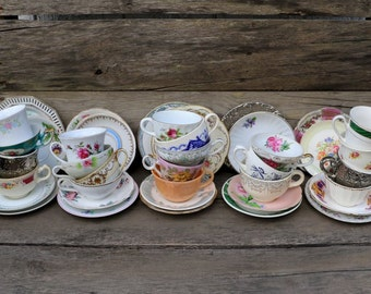 25 Sets - Collection of China - Tea Cups, Saucers, Ceramic Cups & Plates - 50 Piece Set- 25 Cups, 25 Plates -Tea Party - Alice in Wonderland