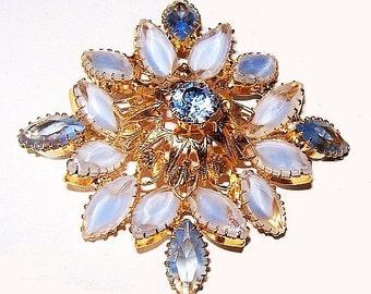 """Designer Brooch Frosted Blue & Crystal Ice Rhinestones Domed Gold Metal 2.5"""" Vintage"""