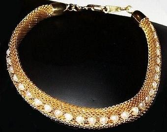 "Gold Mesh Link Bracelet Pearl Beads High Fashion Unique Clasp 7"" Vintage"