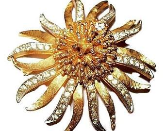 "BSK Rhinestone Brooch Pin Signed Atomic Ice Cluster Gold Metal 2 1/4"" Vintage"