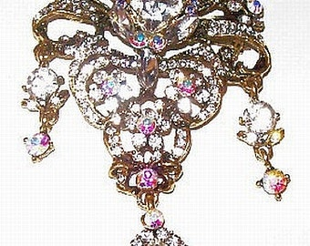 "Heirloom Brooch Pink AB Clear Rhinestones Dangle Style Huge Gold Metal  4"" Vintage"