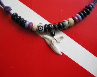 "Shark Tooth Necklace, Modern Day ""Snaggletooth"" Shark, Adjustable cord, Stainless steel wrapped"