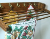 Vintage Farmhouse Kitchen Dish Towel Bar Drying Rack Oak Wood Dowels w/ brass hooks for hanging kitchen gadgets French Country Cottage Charm
