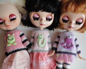Hand Knitted 5 Colorful Soft OOAK Sweaters for Blythe Doll