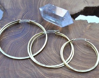 Baby Girl Hoops // Big Mama 3.25'' // Classic Big Hoop Earrings in Brass & Sterling Silver