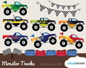 buy 2 get 1 free Monster Trucks clipart / monster truck clip art / bigfoot clipart / racing car clip art / commercial use ok