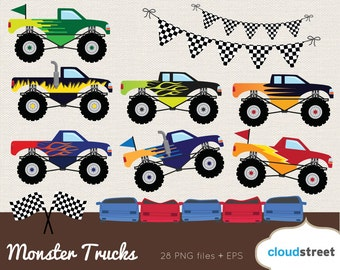 20% OFF Monster Trucks clipart / monster truck clip art / bigfoot clipart / racing car clip art / commercial use ok