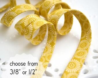 "hanabi on mustard - double fold, bias tape - 3 yards, CHOOSE 3/8"" or 1/2"" wide"