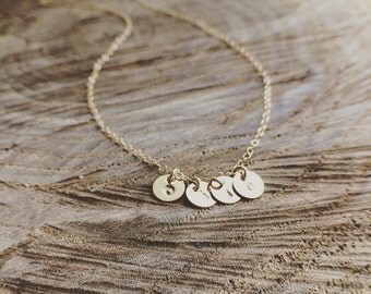 Initials Necklace -14K Gold Filled Initials Necklace - TINY Initials Hand Stamped Necklace - Grandmother/Mother/Friends/Family Necklace