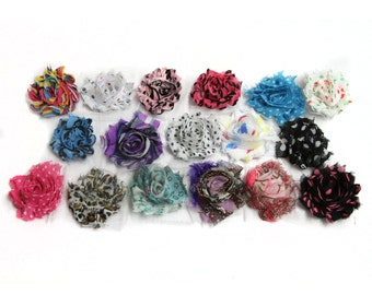 Petite Print Shabby Flower Rosettes, 1.5-2 inches, Headband, Hair Hair Clip, Shabby Chic Flowers,  Set of 12, You Pick Prints