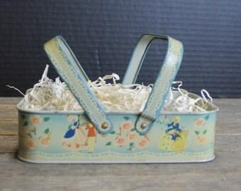 Sweet Vintage Tin Lithographed Basket