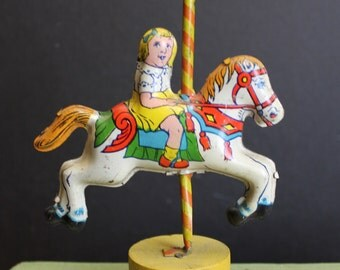 Charming Vintage Tin Lithographed Carousel Horse on Red Striped Pole