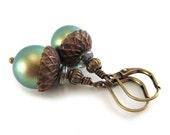Brass Acorn Earrings - Iridescent Green Swarovski Pearl Earrings - Fall Autumn Earrings - Artisan Jewelry - Vintaj Brass - SRAJD 3955