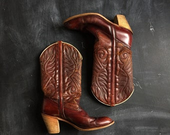 Vintage Dingo Acme Oxblood western Stacked Heel Boots 8 1/2M