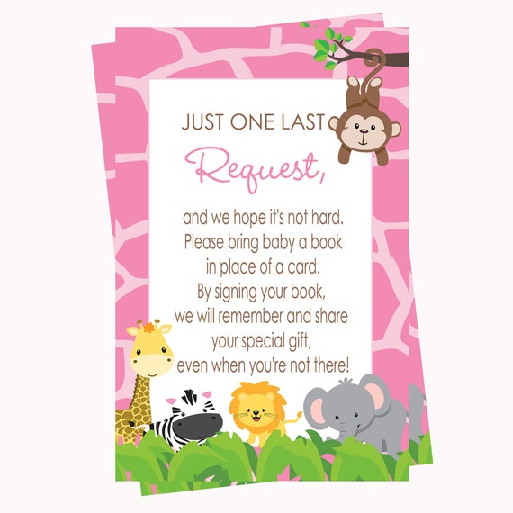pink jungle book request card baby shower instant download invitation