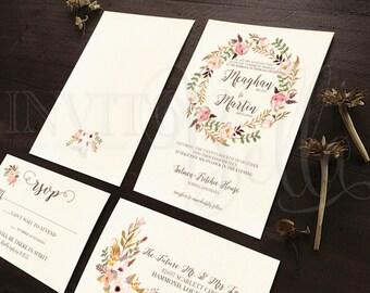 Boho Chic Wedding Invitation Set