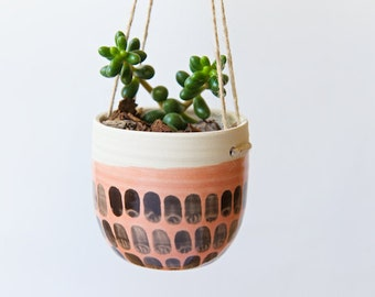 Hanging Planter Indoor Planter Succulent Cactus Air Plant Holder Ceramic Planter Gifts for Mom Holiday Gift Housewarming Gift Coral Planter