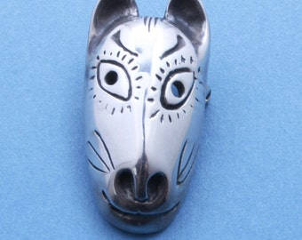 Mother Fox Mask  - Sterling Siver Pin - Japaneses Style