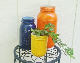Fall / Autumn Upcycled Canning Mason Jars for Flowers, Bouquets or Organization, Set of 3