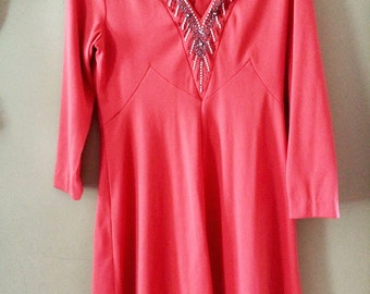 70's Vintage Polyester beaded Women's Dress size large extra large