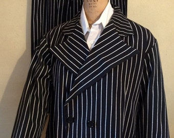 Halloween male adult black with white stripes gangster costume
