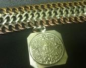 STERLING COPPER BRASS Link Bracelet Mayan Aztec Calender