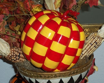 Whimsical French Market Style Red and Yellow Checked Pumpkin