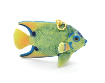 1 - Porcelain Angelfish Pendant Hand Painted Glaze Ceramic Animal Small Ceramic Angel Fish Bead Jewelry Supplies (CA233)