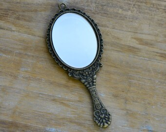 1 Pc Mirror Charm Antique Bronze Charm Small Charm Victorian Mirror Charms Vintage Style Pendant Charm Jewelry Supplies (BC154)