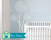 Dandelion Wall Decal, Dragonfly Dandelion Wall Decal with Flying Dragonflies for Nursery, Kids or Childrens Room 124