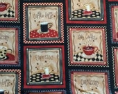 Robert Kaufman - Coffee House - Red -  Novelty Food Fabric - Choose Your Cut 1/2 or Full Yard