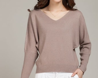 Autumn Winter Sueter Mujer Sweaters and Pullovers Knitting Wool Cashmere Sweater Sale Bating Sleeve