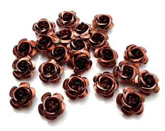 SUPPLY: 45 Beown Aluminum Rose Cabochons - Fatback Roses - Crafts - Day of the Dead - Dia de los Muertos - SKU 8-D3-00003436