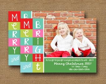 "Christian Christmas Photo Card   ""Christmas Colorblock"" {2}   DIY PRINTABLE    Printable Scripture, Bible Verse Christmas   Merry & Bright"