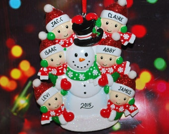 Personalized Family of 6 Building Snowman with Optional Pet Christmas Ornament