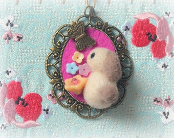 Handmade rabbit pendant necklace, needle felted bunny with butterfly necklace, lolita jewelry, Easter whimsical jewelry, gift under 25