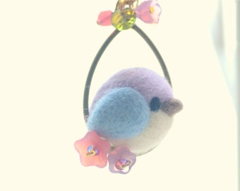 Needle felt bird pendant necklace, soft sculpture wool blue purple bird jewelry, lolita jewelry, whimsical necklace, gift under 25
