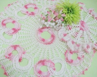 Vintage Crocheted Doilies, Set of 2, Pink and White, Dresser Vanity Doily, Cottage Chic, Home Decor, Vintage Linens by TheSweetBasilShoppe