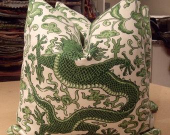 "Scalamandre Jade ""CHI'EN DRAGON"" Chinoiserie Linen Print Custom Pillows Pair - Brunschwig French Back - 20"" Square"