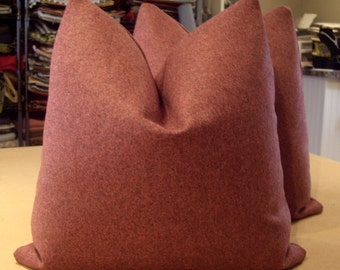 """Heathered Raspberry """"SPENCER FELT"""" English Wool Felt Custom Pillows Pair - Both Sides - Imported from England - 100% Wool - 20"""" Square"""