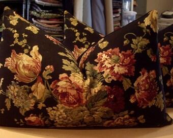 "Ralph Lauren Black ""SUSSEX GARDENS"" Floral Cotton Print Custom Bolster Pillows Pair - Black Cotton Velvet Back - 15"" by 23"""