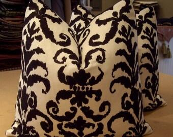 "Ralph Lauren Gesso ""FINSBURY DAMASK"" Exotic Linen Print Custom Pillows Pair - Jet Black Italian Cotton Back - 20"" Square"